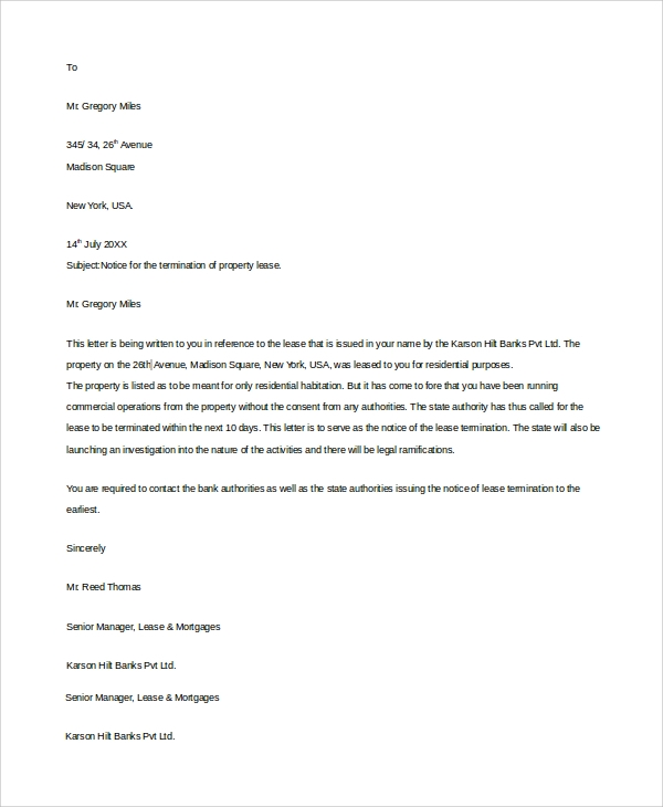 lease termination notice letter - Notice Of Lease Termination