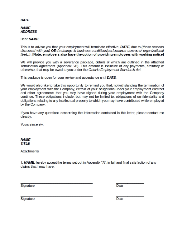 Sample of termination letter 9 examples in word pdf sample employment termination letter in word spiritdancerdesigns Images