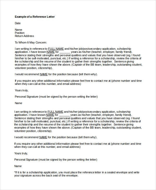 format of job reference letter for a friend