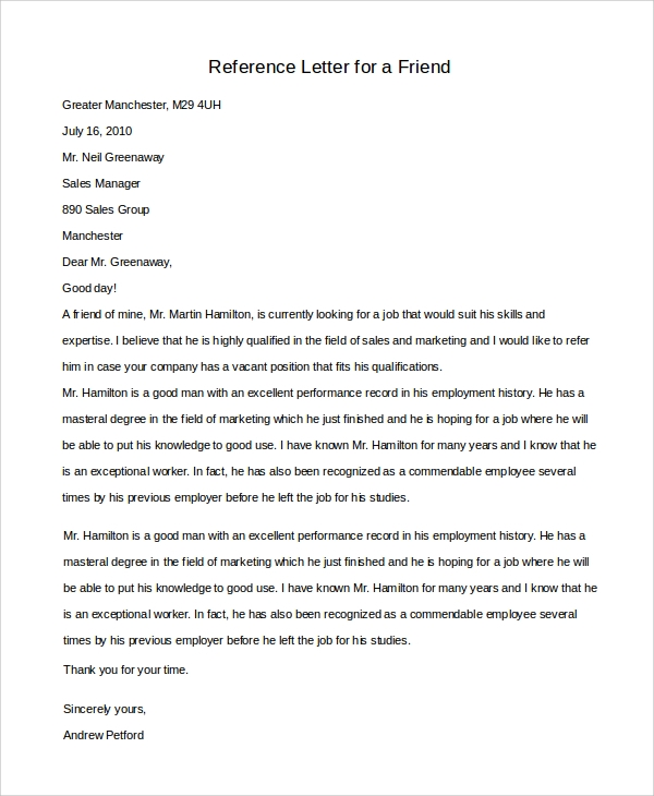 8 reference letters for friend sample templates reference letter sample for a friend free download expocarfo Image collections