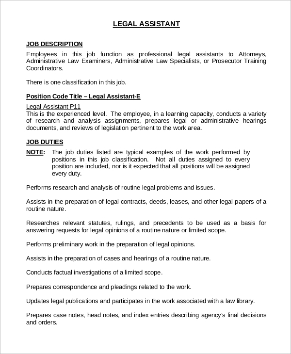 sample legal assistant job description