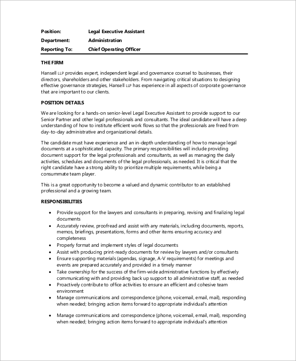 Sample Legal Assistant Job Description 9 Examples In Docs