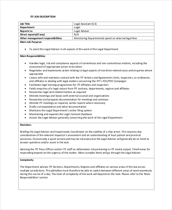 8 sample legal assistant job descriptions sample templates - Legal compliance officer job description ...