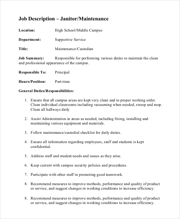 Sample Custodian Job Description   Examples In Pdf Word