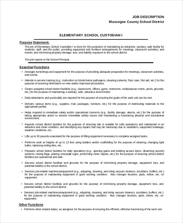 school custodian job description