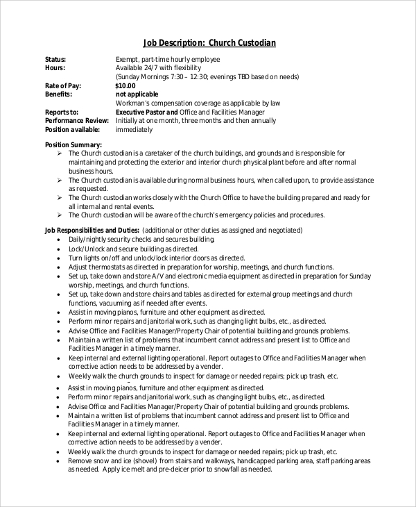 Sample Custodian Job Description 8 Examples In Pdf Word