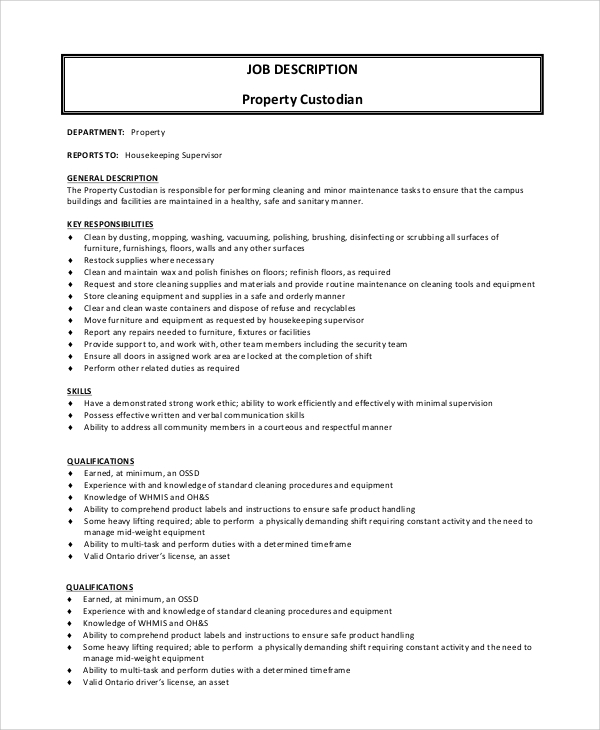 property custodian job description
