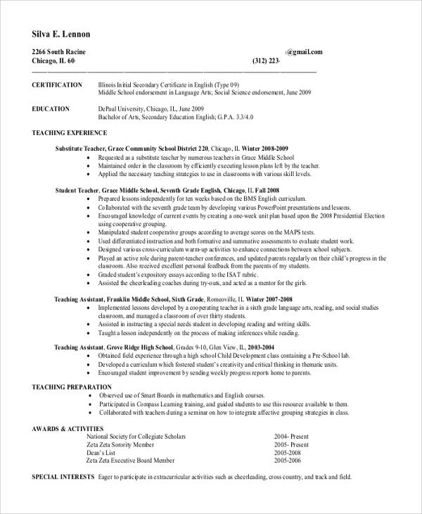 resume for school teacher