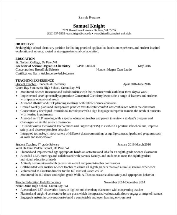 free 9  sample teacher resume templates in ms word