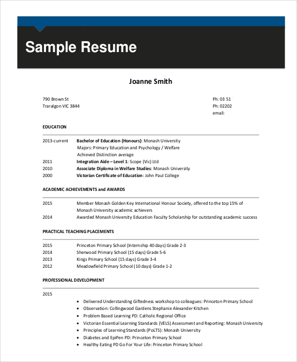 resume for teacher without experience