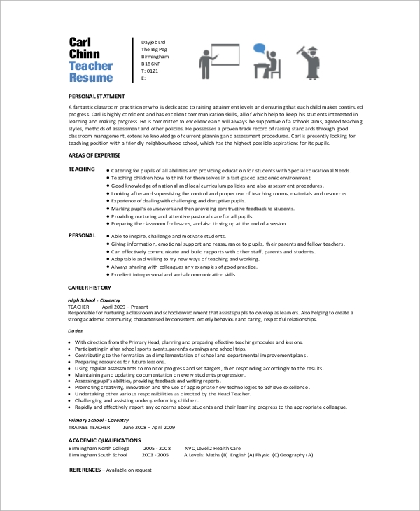 free 9  sample teacher resume templates in ms word