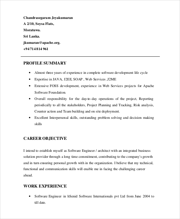 sample resume profile summary example