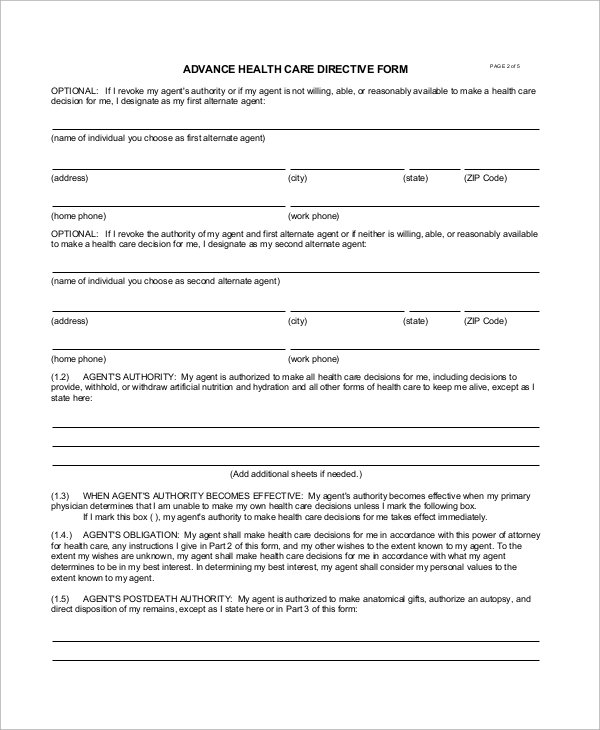 8 sample advance directive forms sample templates for Advanced directive template