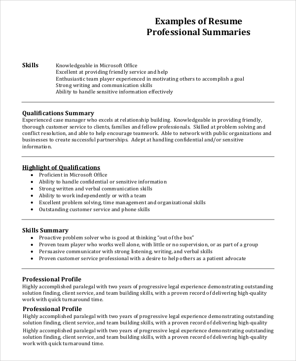 Resume Profile Example   Samples In Pdf Word