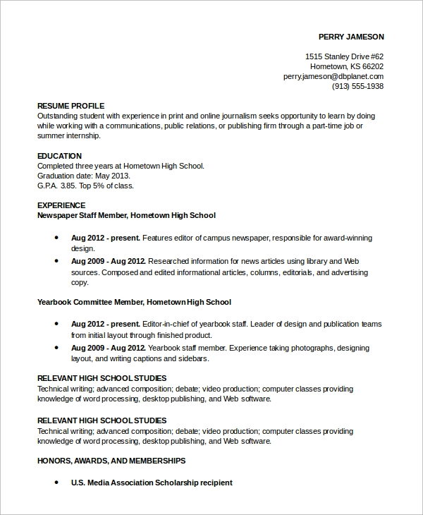 sample resume profile example