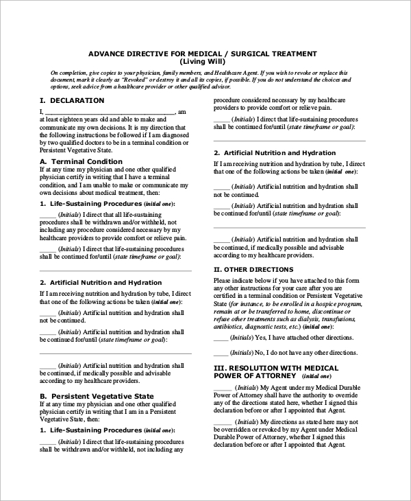 Sample Advance Directive Form   Examples In Pdf