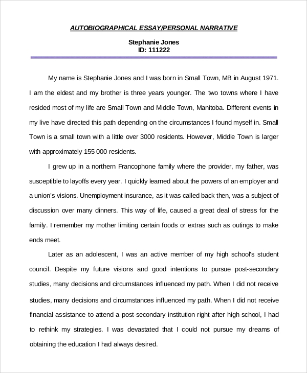 personal autobiographical essay - Personal Narrative Essay Examples High School