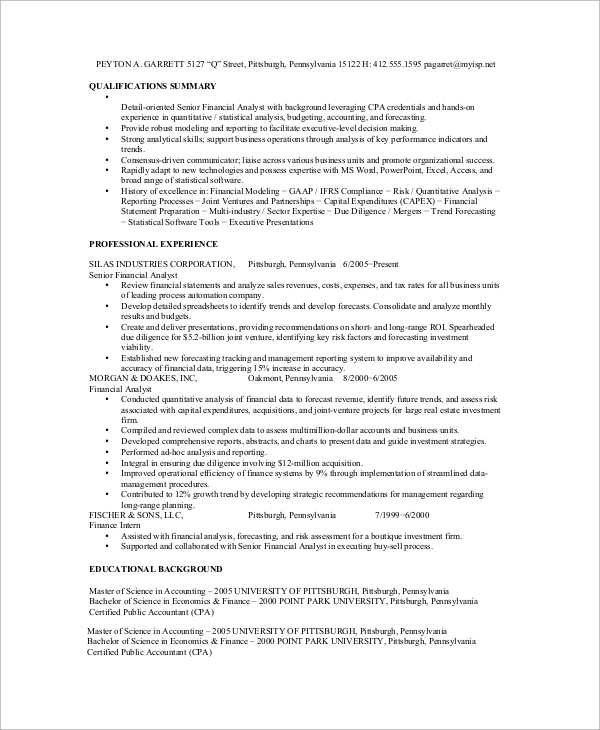 Sample Financial Analyst Resume   Examples In Word Pdf