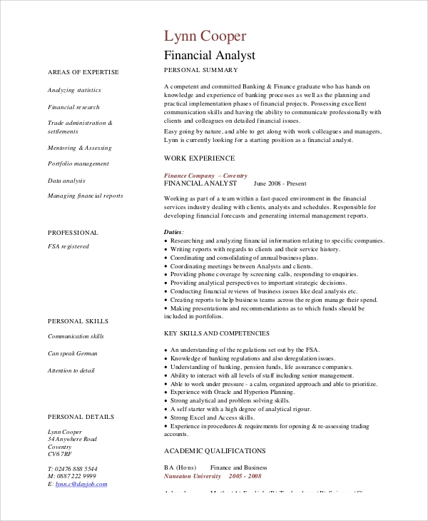 experienced financial analyst resume