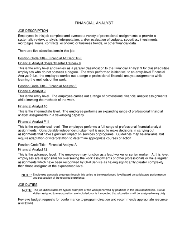financial analyst job description resume