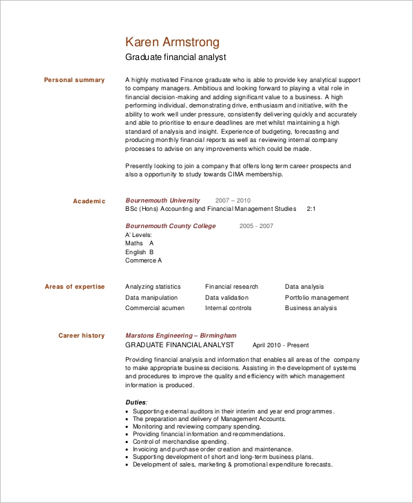 graduate financial analyst resume