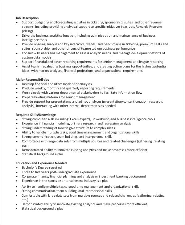 financial analyst resume skills sample