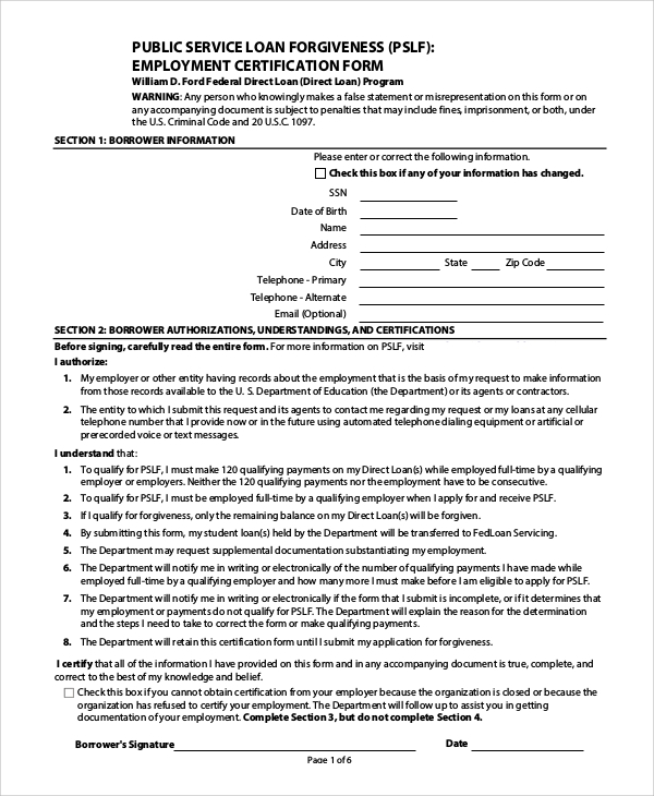 Employment Certification For Public Service Loan Forgiveness Form