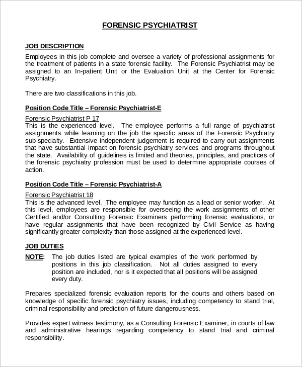 Sample Psychiatrist Job Description   Examples In Pdf