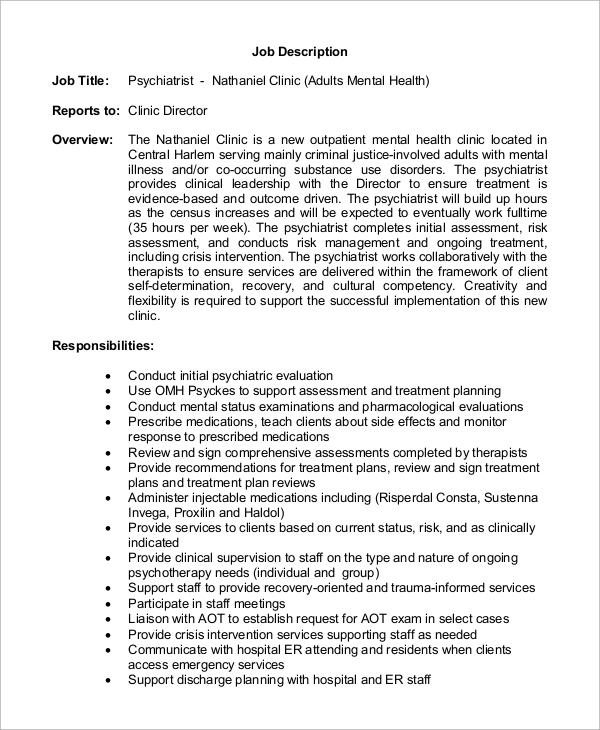 Sample Psychiatrist Job Description 8 Examples in PDF – Psychiatrist Job Description