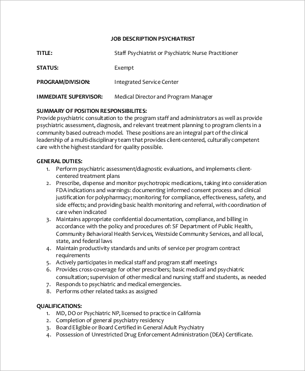 staff psychiatrist job description - Practice Director Job Description