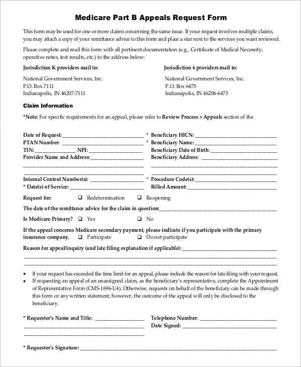 Sample Medicare Form   Examples In Word Pdf