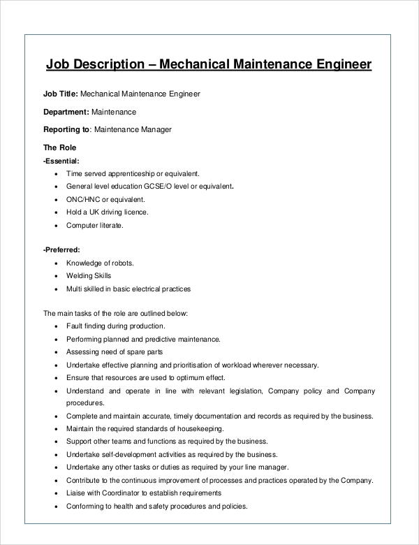 Wonderful Maintenance Mechanical Engineer Job Description
