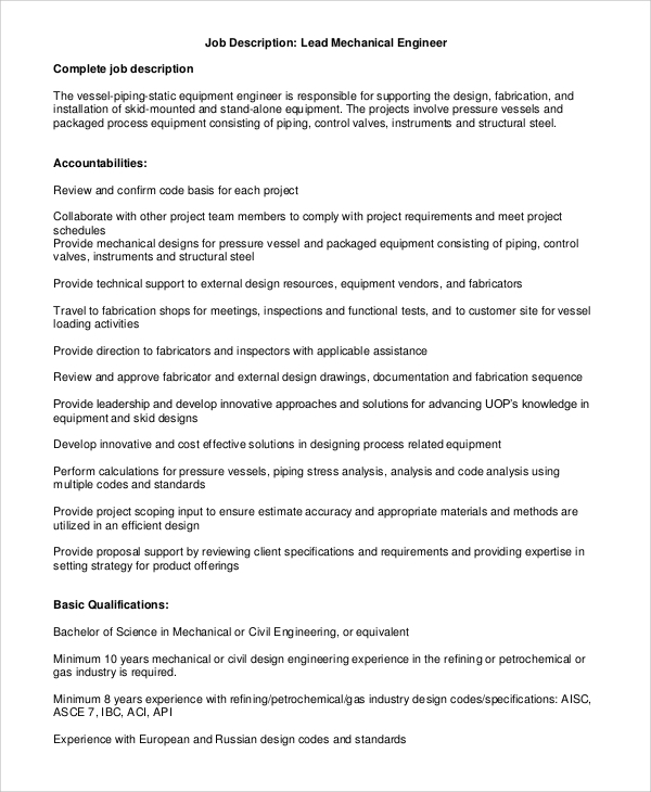 Beautiful Lead Mechanical Engineer Job Description