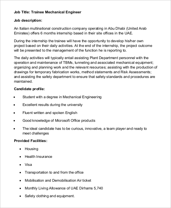 Sample Mechanical Engineer Job Description 8 Examples in Word PDF – Mechanical Engineer Job Description