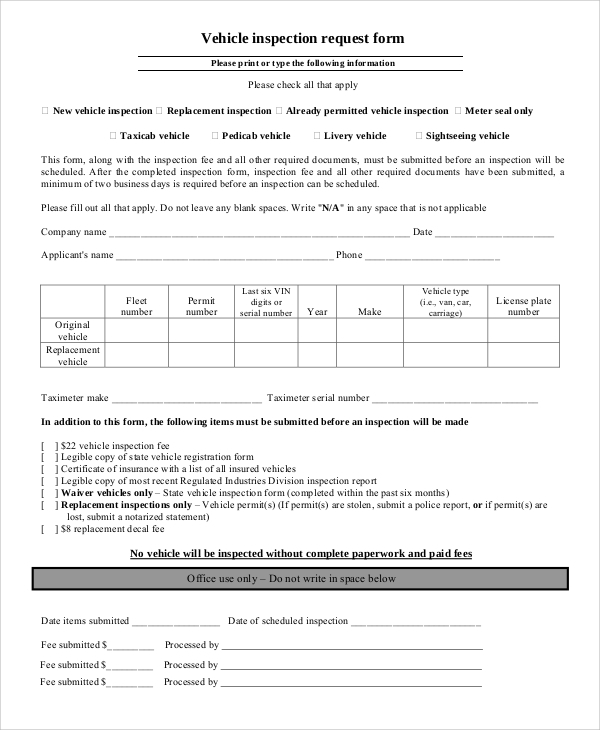 Sample vehicle inspection form 8 examples in word pdf vehicle inspection request form yelopaper Choice Image