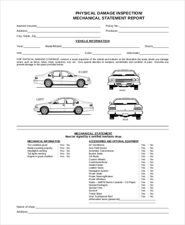 Car Repair Costs: FREE 8+ Vehicle Inspection Forms In PDF