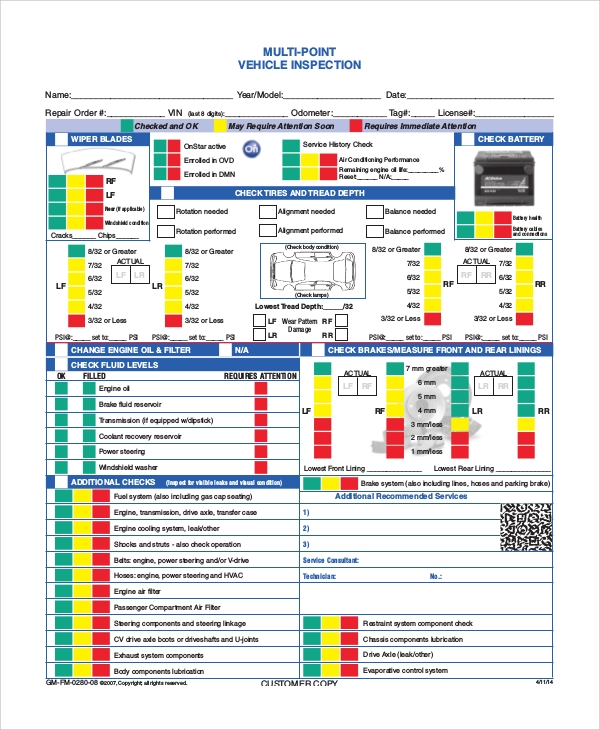 Priceless image in free printable vehicle inspection checklist