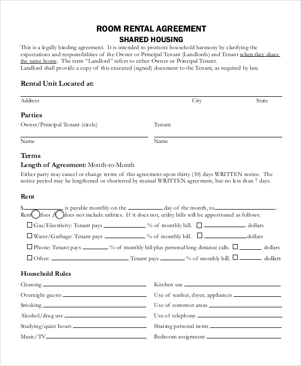 simple room rental agreement in pdf