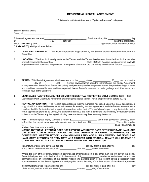 Simple Rental Agreement - 8+ Examples In Pdf, Word