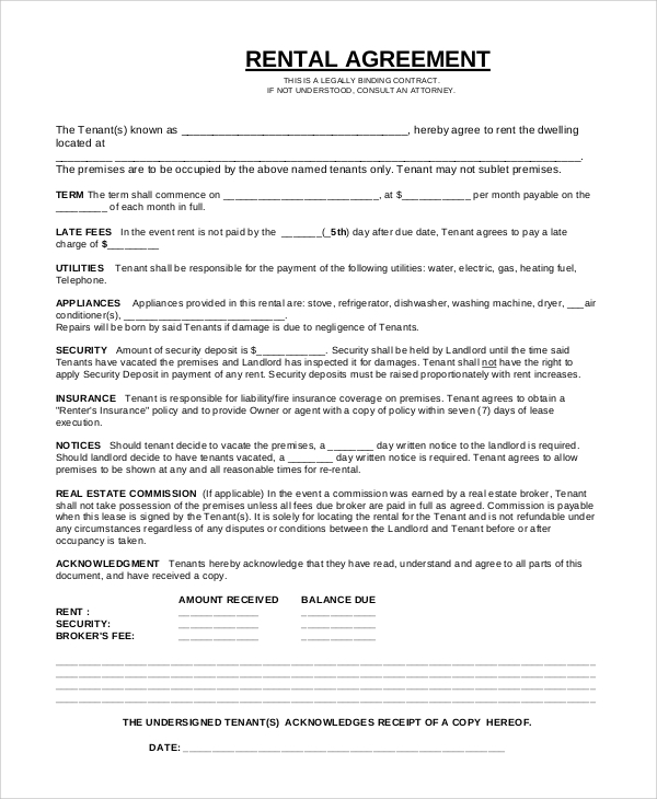 Simple Rental Agreement 8 Examples in PDF Word – Simple Rent Agreement Form