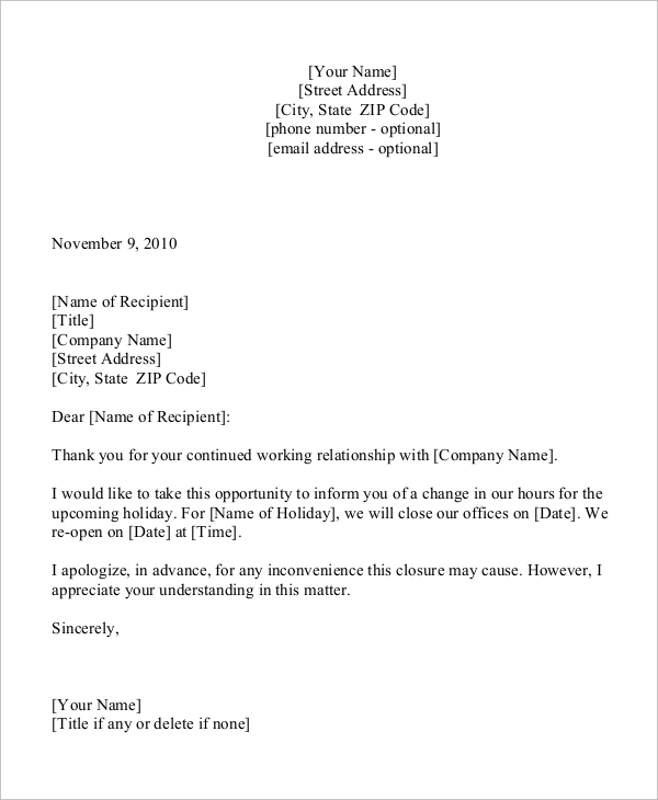 Sample Holiday Letter   Examples In Word Pdf
