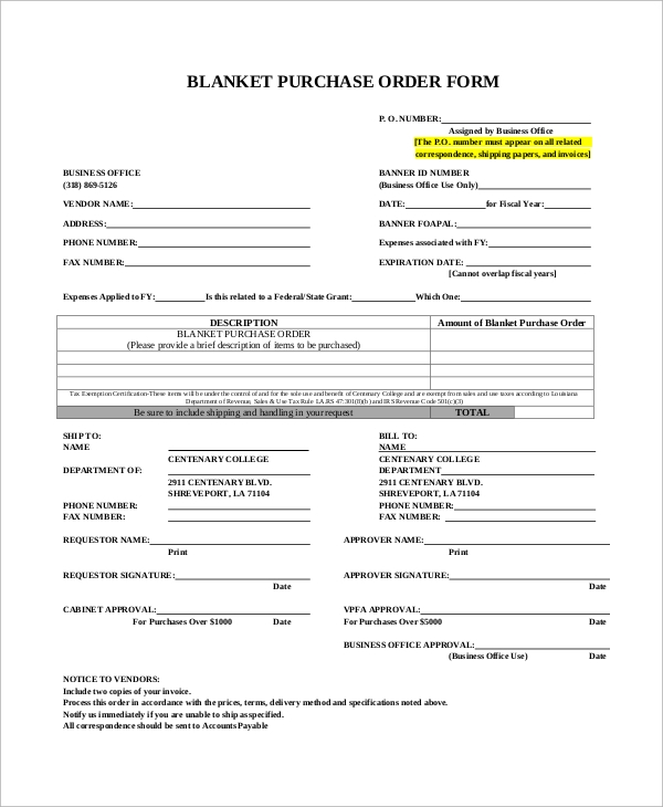 blanket purchase order form