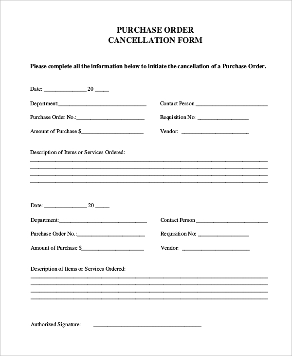 purchase order cancellation form sample