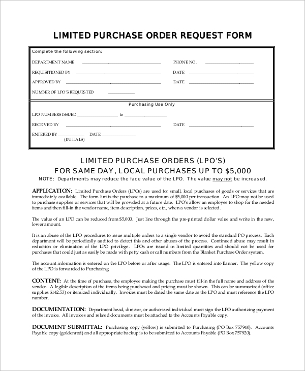 limited purchase order form in pdf