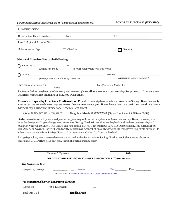 currency purchase order form