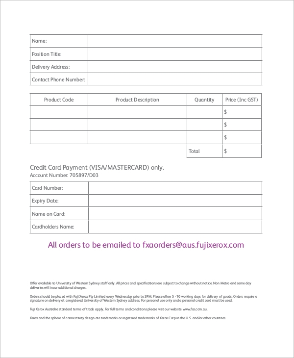 staff purchase order form example