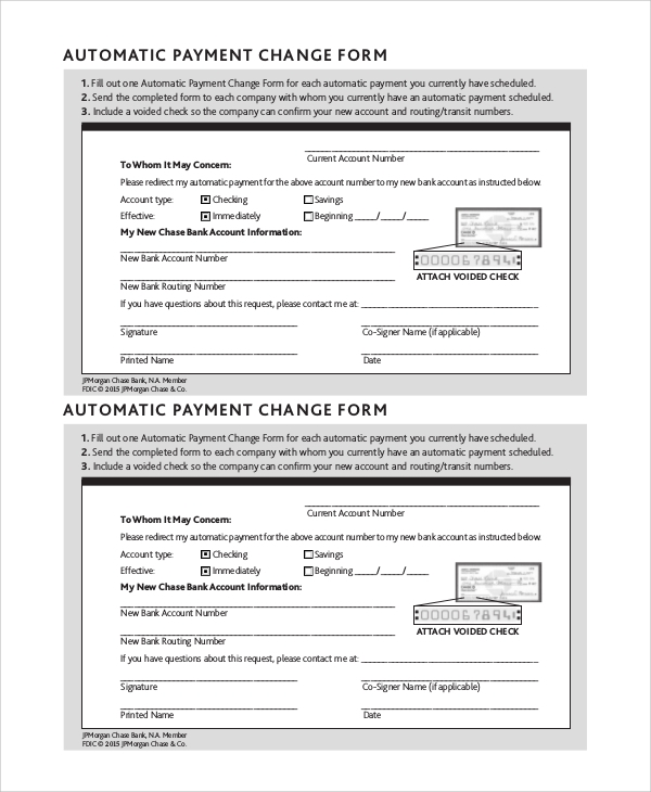 automatic payment change form sample