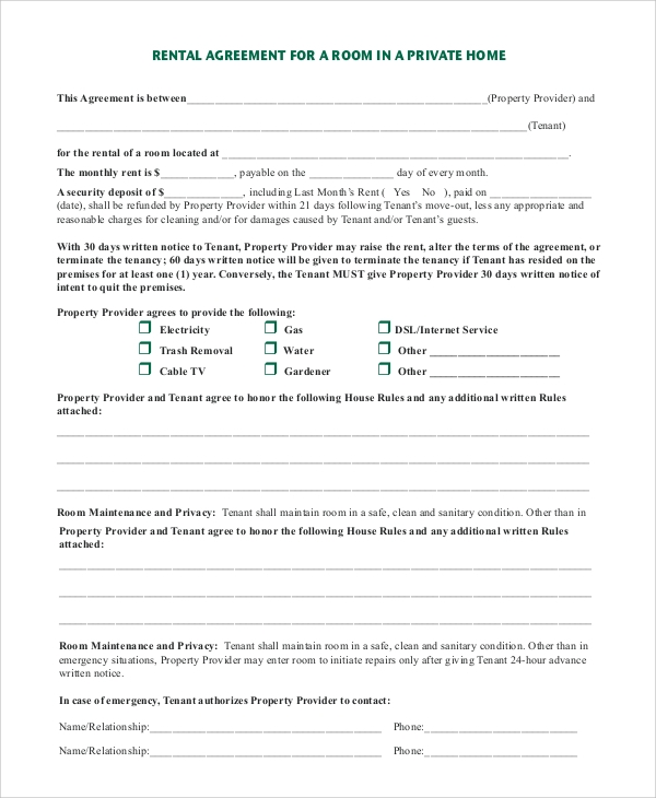 Room Rental Agreement Forms And Templates  Fillable  Printable