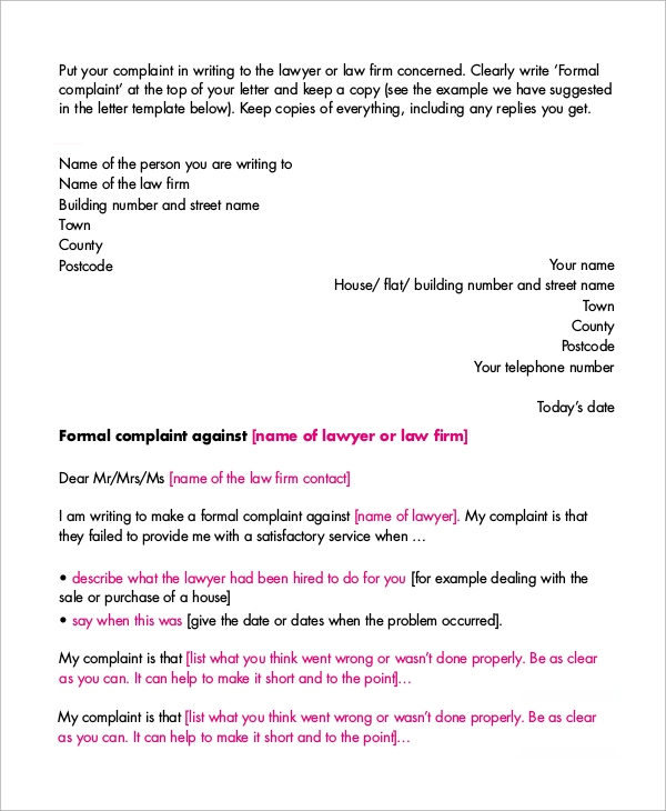 Sample Letter of Complaint - 9+ Examples in Word, PDF