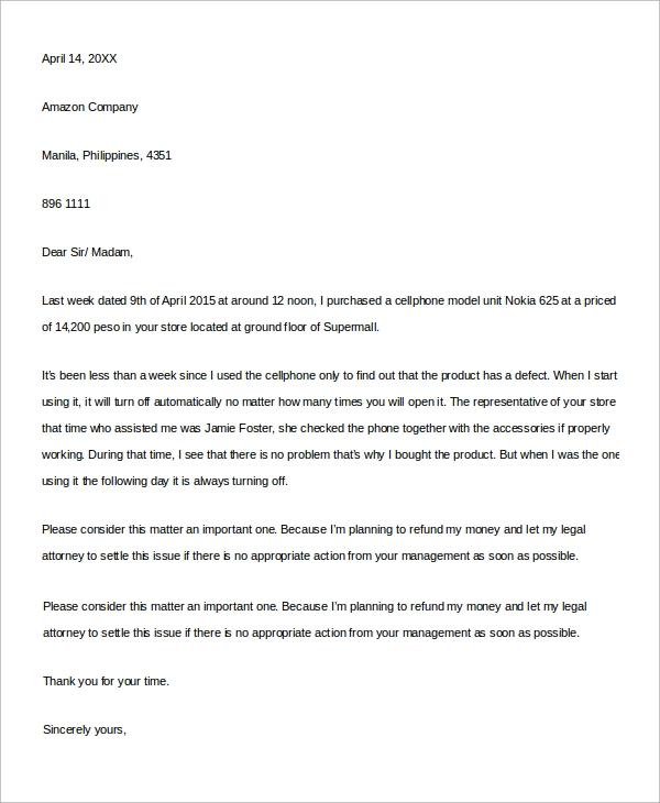 Sample letter of complaint 9 examples in word pdf service complaint letter sample in word spiritdancerdesigns Gallery